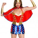 Shiny Red Wonder Woman Fancy Dress Super Heroine Uniform W8193