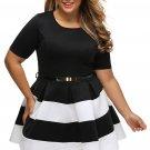 4 Colors Plus Size XL-6XL Short Sleeve Big Women Female Casual Dress Party Dress W870401