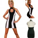Sexy Black and White Stripe Club wear with Halter Night Out Dress
