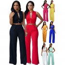 S-2XL Fashion Women's Jumpsuit Rompers V-neck Sleeveless Slim Fit Wid Leg Casual Wear