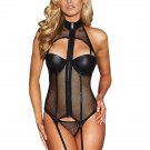 Black Sexy Fishnet Corset Lingerie Set for Woman