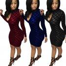 Fashion Geometry Club Dress Long Sleeve Clubwear Spring Bodycon Dresses for Woman