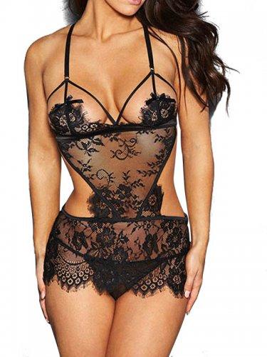 Black Sexy Bodysuit Lace Valentine Day Teddy Lingerie Set d02e2f1d4