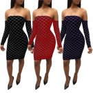 3 Colors Sexy Women Silver Line Long Sleeve Cocktail Dress Off-shoulder Clubwear