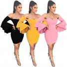 3 Color Sexy Women Cocktail Dress Butterfly Sleeve Evening Midi Party Dress S-XL