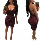 Sexy Women Cocktail Dress Backless Sequin Evening Bodycon Mini Party Dress