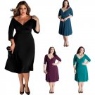 Autumn Women Midi Dress Plus Size V Neck Half Sleeve 2XL Loose Casual Dress
