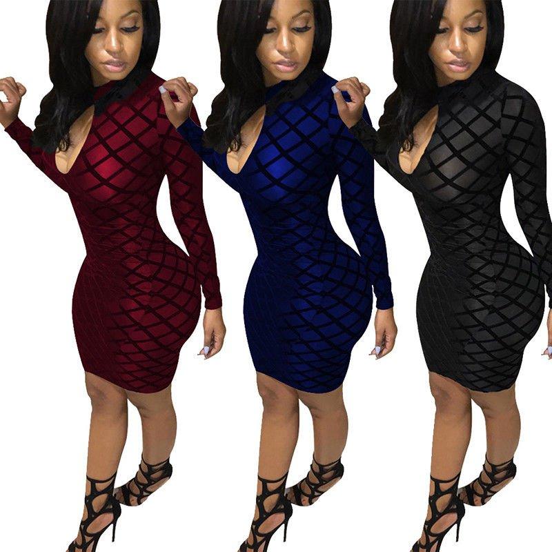 Sexy Bodycon Mini Dress Long Sleeve Women Cocktail Evening Party Club Dress
