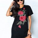 Black Embroidery Hollow Out O-Neck Short Sleeve Casual Tunic Mini T-shirt Dress