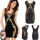 Black Party Dress Gold Foil Print Trim Cheap Mini Rockabilly Dress Sexy Clubwear