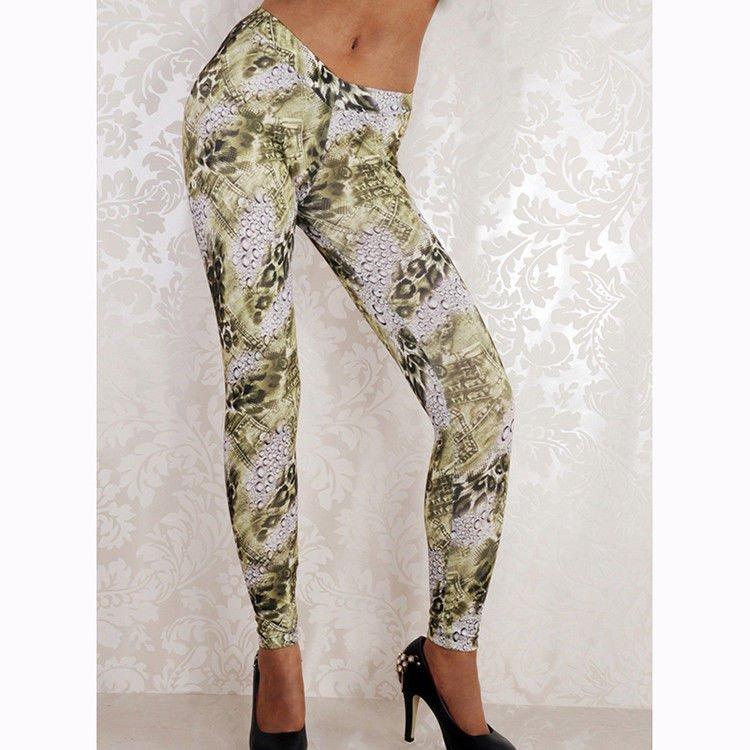 Digital Floral Print Slim Trousers Women Leggings Female Casual Skinny Pants