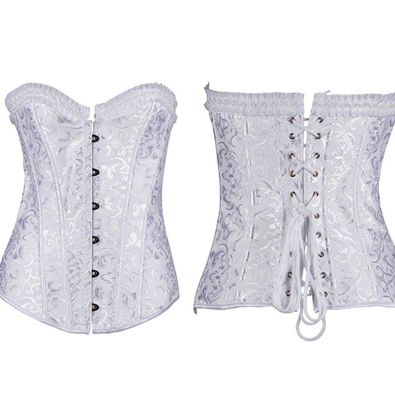 White Bride Corset Satin Bustier Top Waist Lingerie Shaper Plus Size XS-6XL