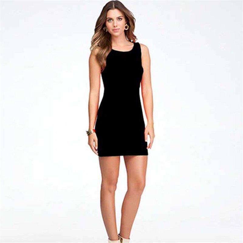 Womens Fashion Black Dress Girl Summer Clothing Sleeveless Summer Casual Dress