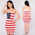 Sleeveless American Flag Mini Off Shoulder Summer Tube Dress for Women Beach Dress