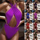 Womens Bandage Swimwear Criss Cross Backless One Piece Swimsuits Monokini