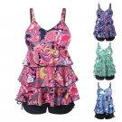 Women Plus Size Tankini Swimwear Floral Padded Bathing Tank Tops With Boyshorts
