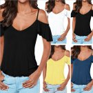 Summer Women Blouse Strappy Tops Cold Shoulder Tee Ladies Short Sleeve T-Shirt