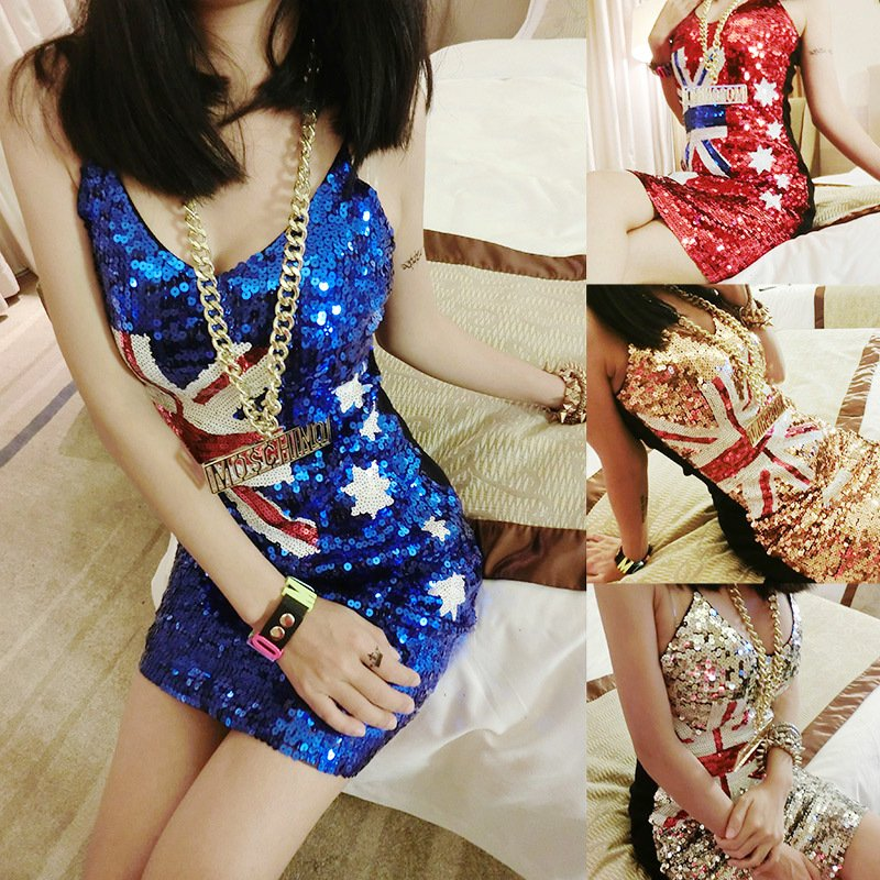 Sexy Women Sequin Dress Australian Flag Clubwear Party Cocktail Dresses