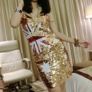 Women Sequin Cocktail Dresses Glitter Bling Bling Party Dress Australian AU Flag Sexy Clubwear