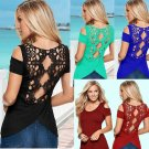 Fashion Summer Women Casual Tank Tops Vest Blouse Retro Lace Backless Blusas
