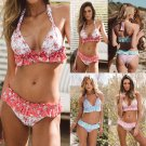 Floral Leafy Style Bikini Top For Women Push-up Padded Swimwear Halter Beachwear
