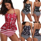 Women Tankini Swimsuit Floral Printing Swimwear Halter Coverups Backless Bathing Suit