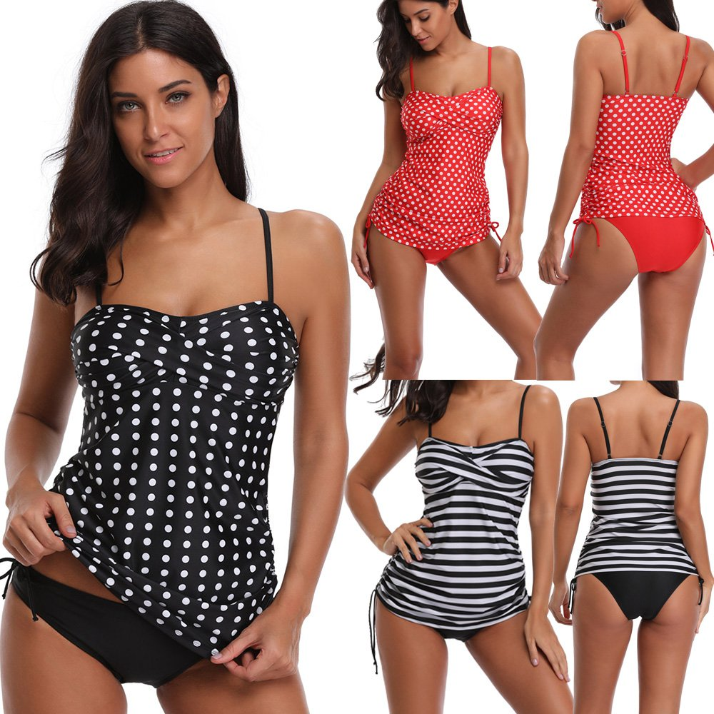 Women's Tankini Black Polka Dot Swimwear Spaghetti Strap Swimsuit Padded Bathing Suit