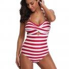 Women's One Piece Swimwear Padded Bandeau Monokini Stripes Beachwear Push Up Swimsuit Bathing Suit