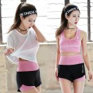3pcs Summer Women Sport Wear Gymwear Cotton Fitness Crop-top Yoga Exercise Padded Bras