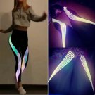 Fashion Rainbow Glowing Yoga Leggings Reflective Laser Striped Sports Gymwear