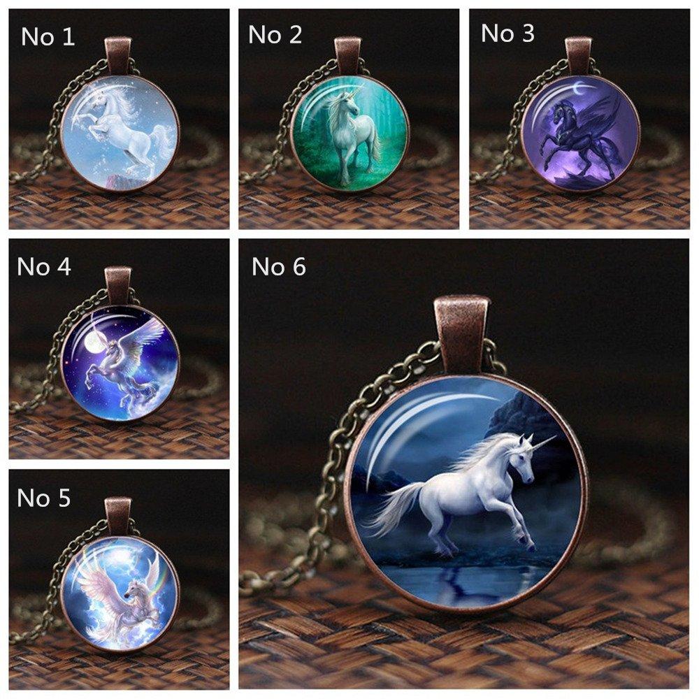 White Unicorn Horse Pendant Souvenir Alloy Chain Necklace Glass Gems Fairytale Girl Christmas Gift