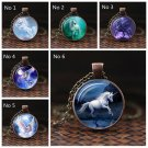 White Unicorn Horse Pendant Souvenir Alloy Chain Necklace Glass Gems Fairytale Girl Christmas Gift