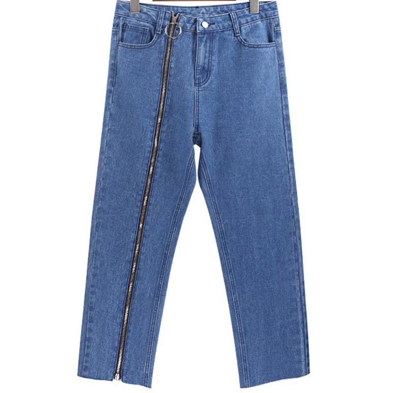 Summer Women Jeans Plus Size Long Zipper Wide Leg Pants Denim Casual Loose Straight Trousers
