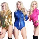 5 Colors S-3XL Plus Size Latex Jumpsuits Faux Leather Rompers Front Zipper Playsuits for Women