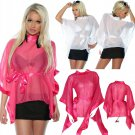 Sexy Transparent Blouse for Women Summer Sheer Shirts White Pink Kimono Sleeve Tops Rash Guards