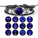 12 Constellations PU Leather Hand-woven Beaded Bracelet Fashion Wristband Bangle Lover Gifts