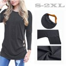 Women Autumn Blouses Casual Long Sleeve Shirts Solid Color Blusa Round Neck Fall Chemisier Bluse