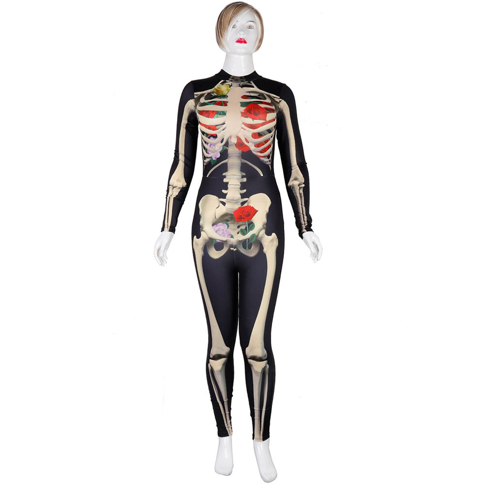 Carnival Party Cosplay Jumpsuit Costume Human Skeleton Printed Halloween Catsuit