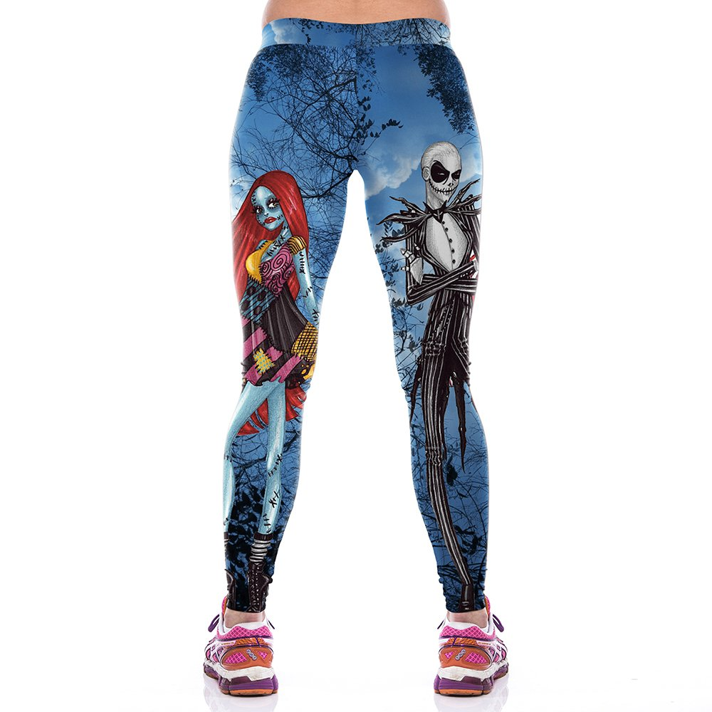 Corpse Bride Halloween Leggings Cartoon Movie Role 3D Printing Yoga Pants for Party