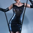 Faux Leather Sexy Dress for Club Backless Mesh PVC Patchwork Fetish Party Clubwear