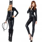 Black Catwoman Catsuit for Halloween Fetish Sexy Cosplay Costumes with Headgear