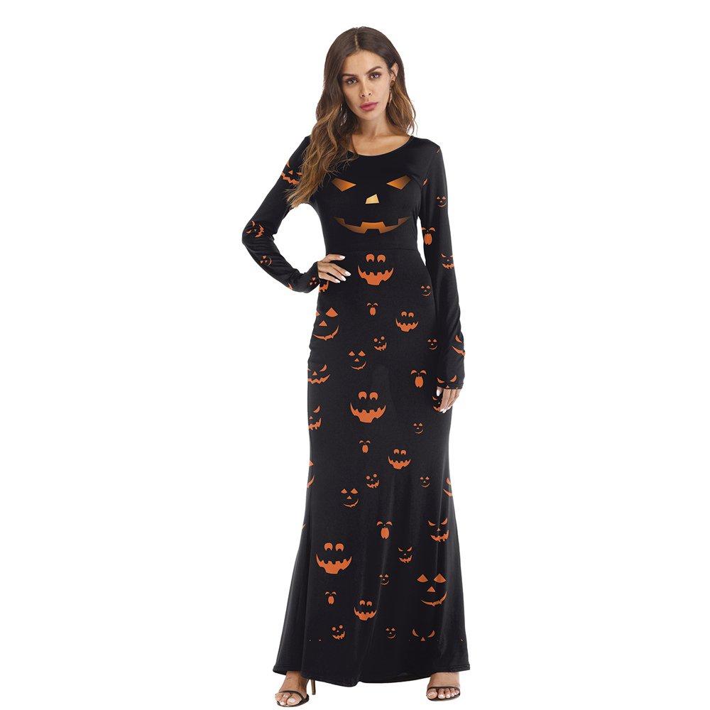 Halloween Pumpkin Lantern Monster Printed Maxi Dress for Women Long Sleeve