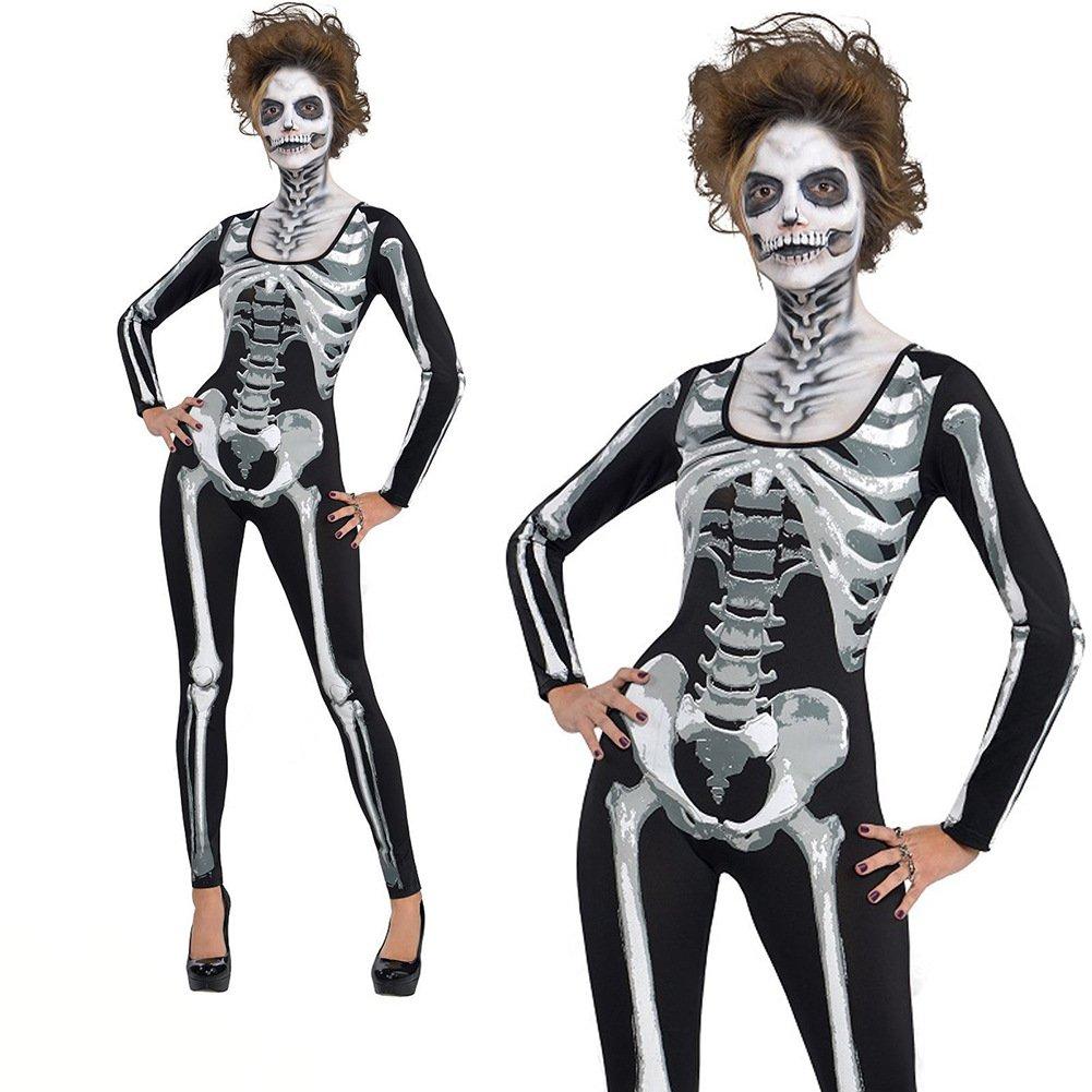 Horrible Skeleton Printed Costume Halloween Jumpsuit Melbourne Corpse Day Cosplay Uniform