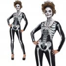 Horrible Skeleton Printed Costume for Halloween Jumpsuit Melbourne Corpse Day Cosplay Uniform