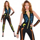 Melbourne Corpse Day Halloween Costume Skeleton Print Jumpsuits Carnival Fancy Dress Funny Costumes