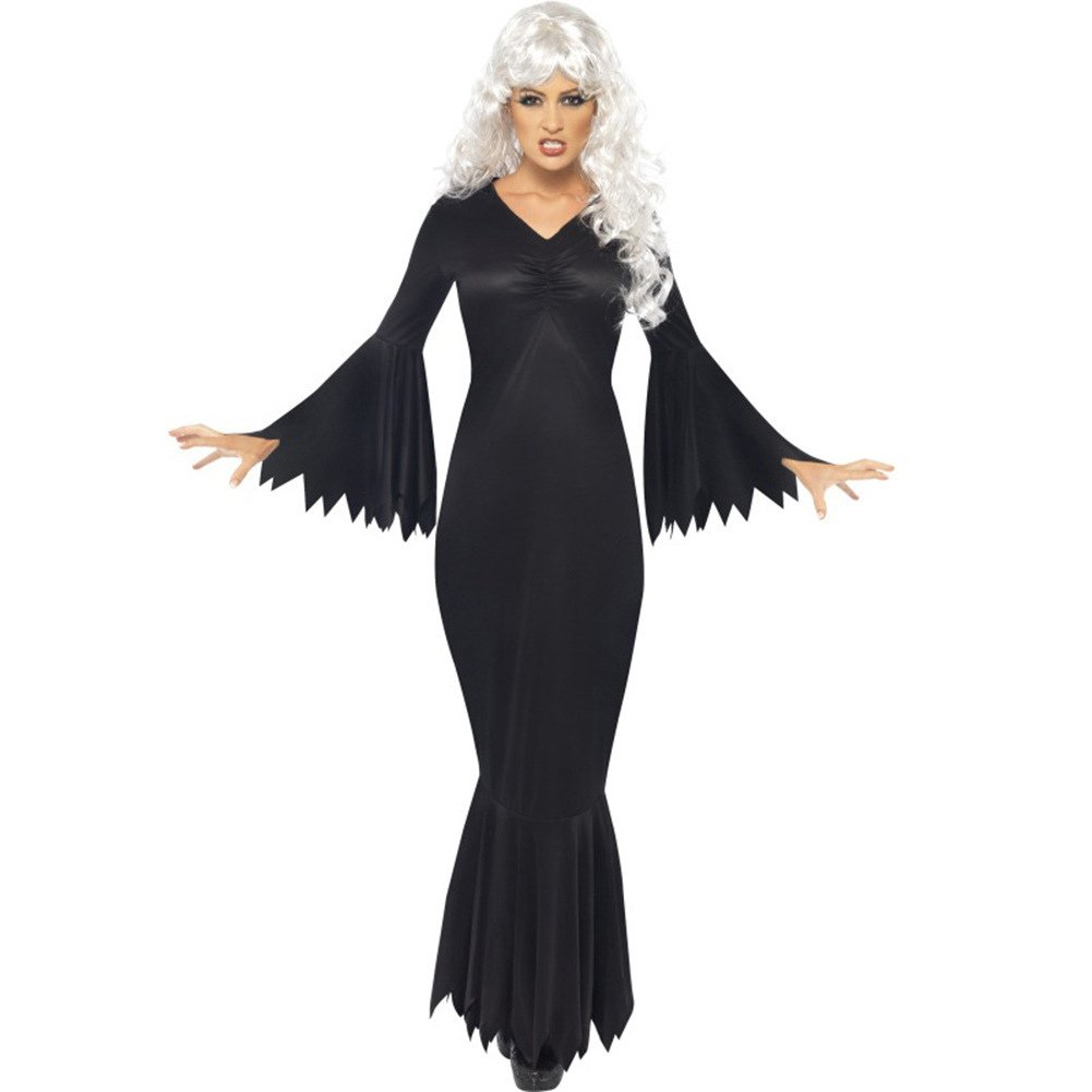 2020 Long Sleeve Horrible Sawtooth Trim Cosplay Costume Black Witch Fancy Dress for Halloween
