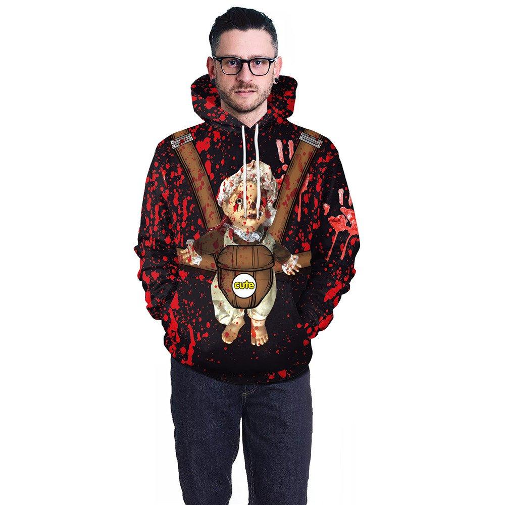 Men Halloween Horror Bloodstain Doll Print Sweater Chic Hoodies For Male