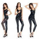 Black Patent Leather Jumpsuit Open Crotch Halloween Fetish PU Catsuit for Melbourne Corpse Day