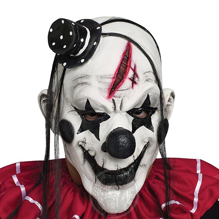 Devil Clown Mask Latex Horror Scary Funny Mask Halloween Escape Room Props