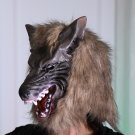 Devil Wolf Masquerade Mask Brown Halloween Accessories Scary Cosplay Full Head Party Headgear